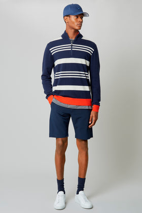 Navy Macro Stripe 1/4 Zip