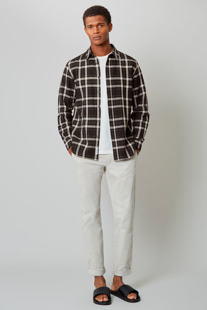 Black/ Off White Monochrome Linen Shirt