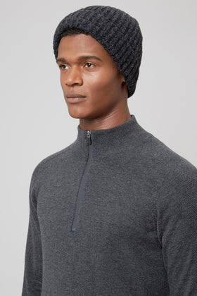 Black/Charcoal Lambswool Beanie