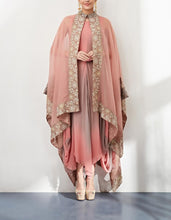 Pink and Beige Cape with Dress