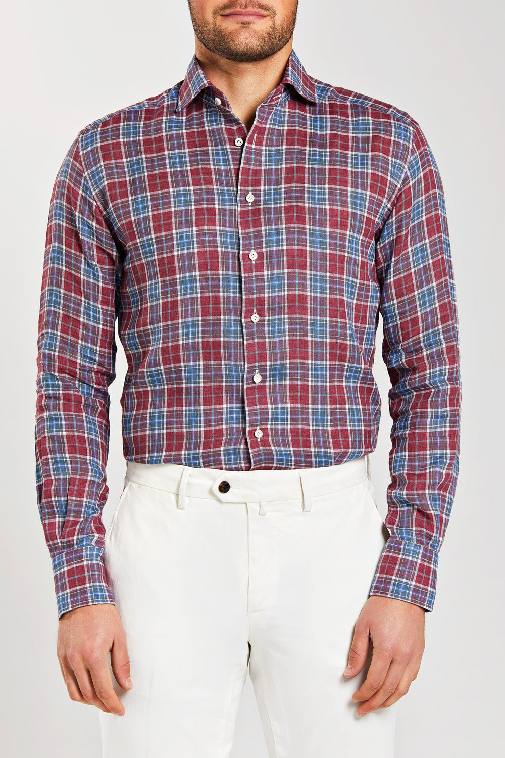 Classic Fit Red Check Linen