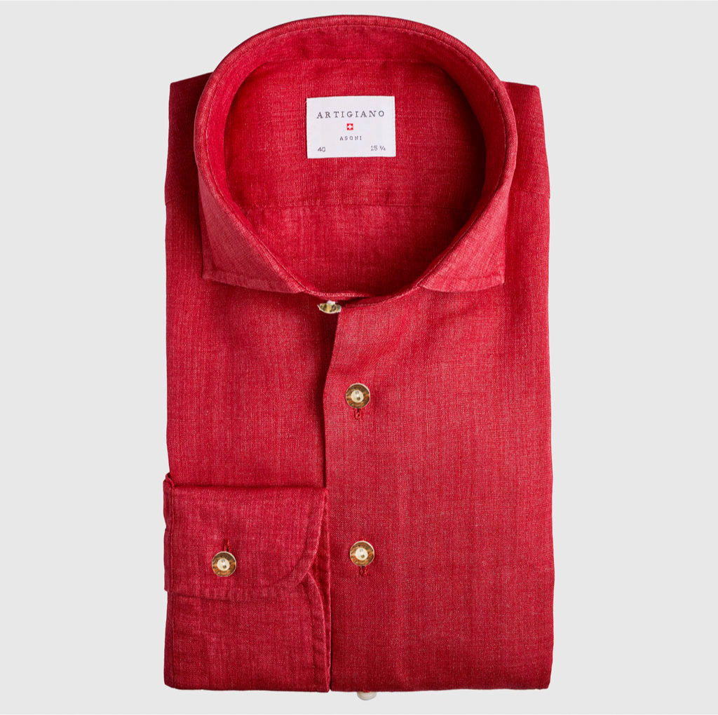 Classic Fit Red Linen