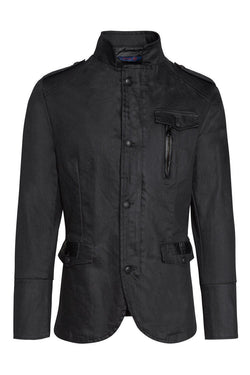 Coated Multi-Pocket Safari Jacket - Black