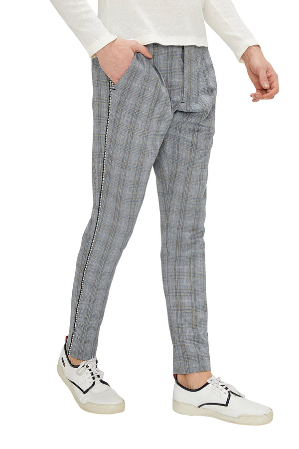 Patterned Slim Fit Casual Trouser - DARK GREY