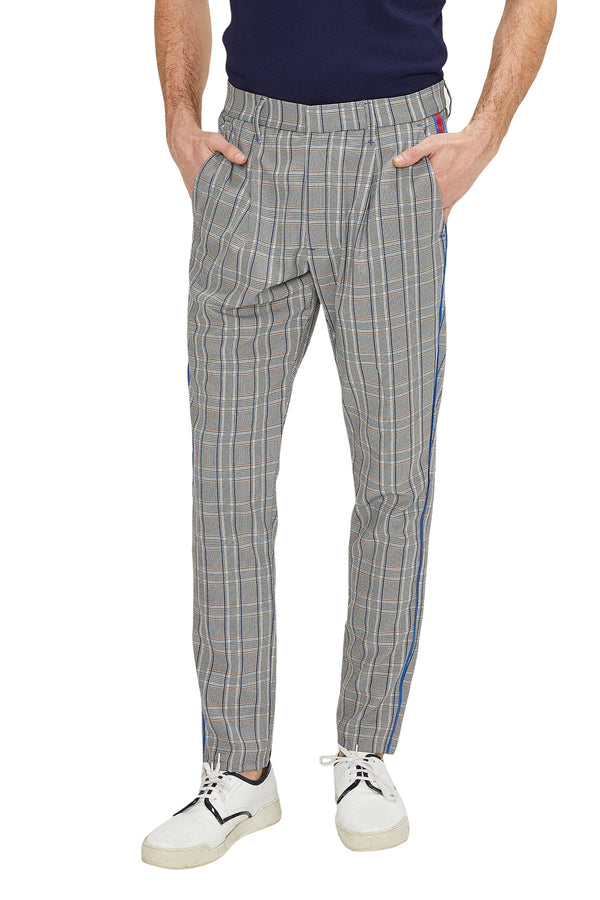 Patterned Slim Fit Casual Trouser - GREY MUSTARD