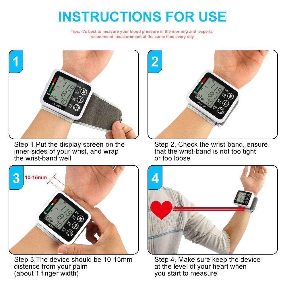 Health Care Automatic Digital Wrist Blood Pressure Monitor Meter Cuff Blood Pressure Measurement Health Monitor Sphygmomanometer