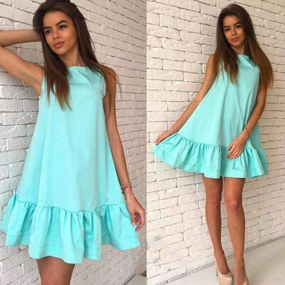 My Envy Shop Sky Blue / L Women's Vestidos Sexy Ruffles Dress Summer Sleeveless Casual A Line Bodycon Dress Women Party Plus Size Short Mini Dresses