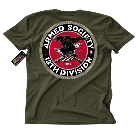 Metal Mulisha Armed Society T-Shirt Mens Back Military Green