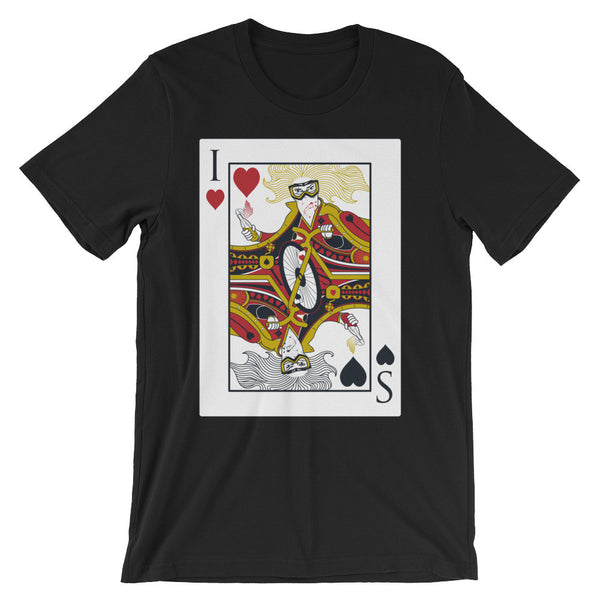 A black tshirt with a print of a bicycle playing card, on a white background