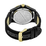 Morphic M47 Series Leather-Band Watch w/ Date - Black/Gold MPH4704