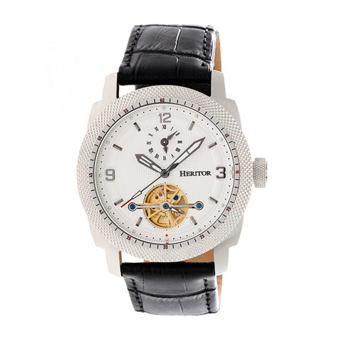 Heritor Automatic Helmsley Semi-Skeleton Leather-Band Watch - Silver/White HERHR5005