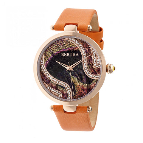 Bertha Trisha Leather-Band Watch w/Swarovski Crystals - Orange BTHBR8004