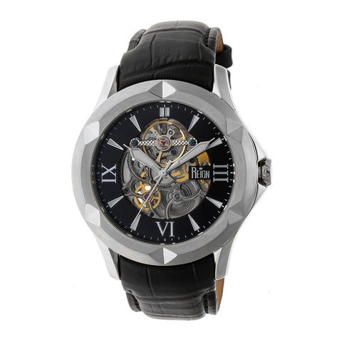 Reign Dantes Automatic Skeleton Dial Leather-Band Watch - Silver/Black REIRN4704
