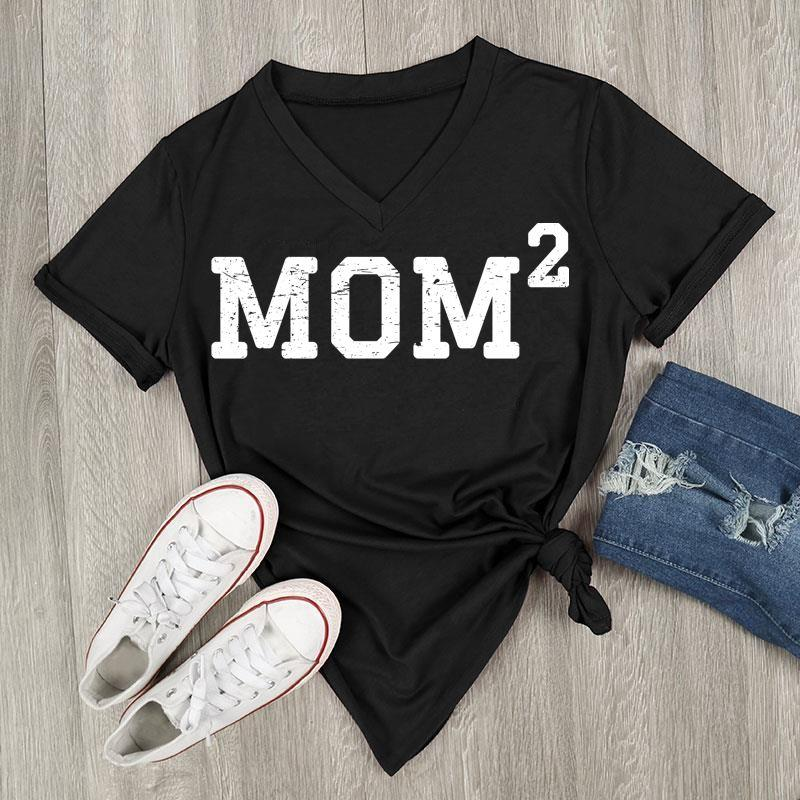 Mom 2, V-Neck, T-Shirt (Black)