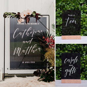 Acrylic Modern Tint Black Welcome Sign Pack 1 - FoxAndHart