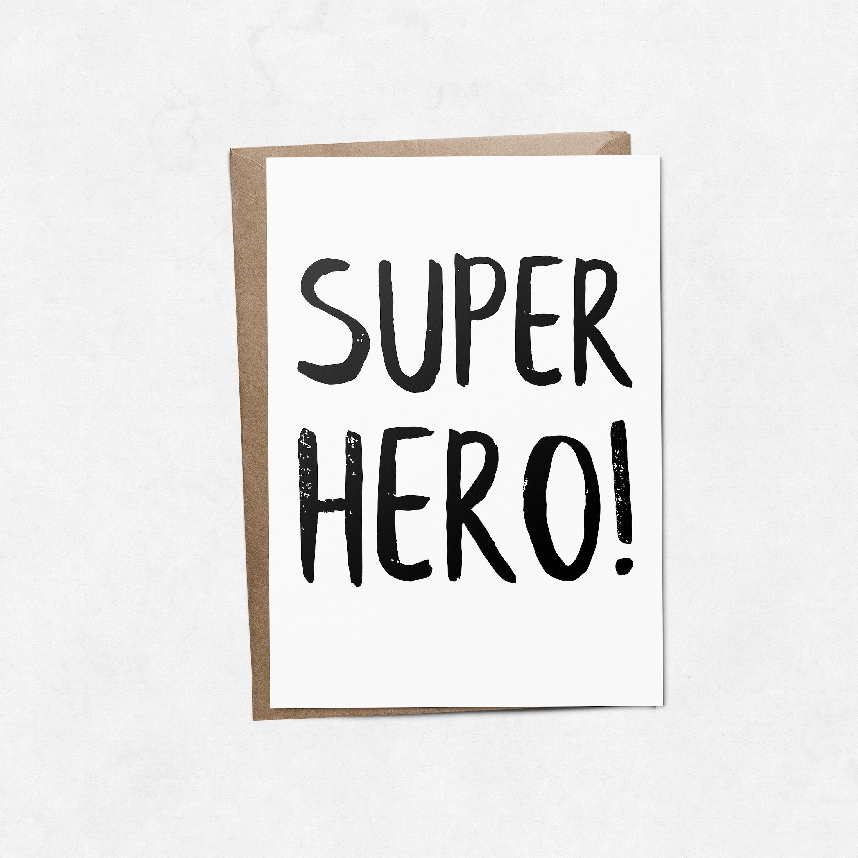 'Superhero' brush letter A6 greeting card | ink & white