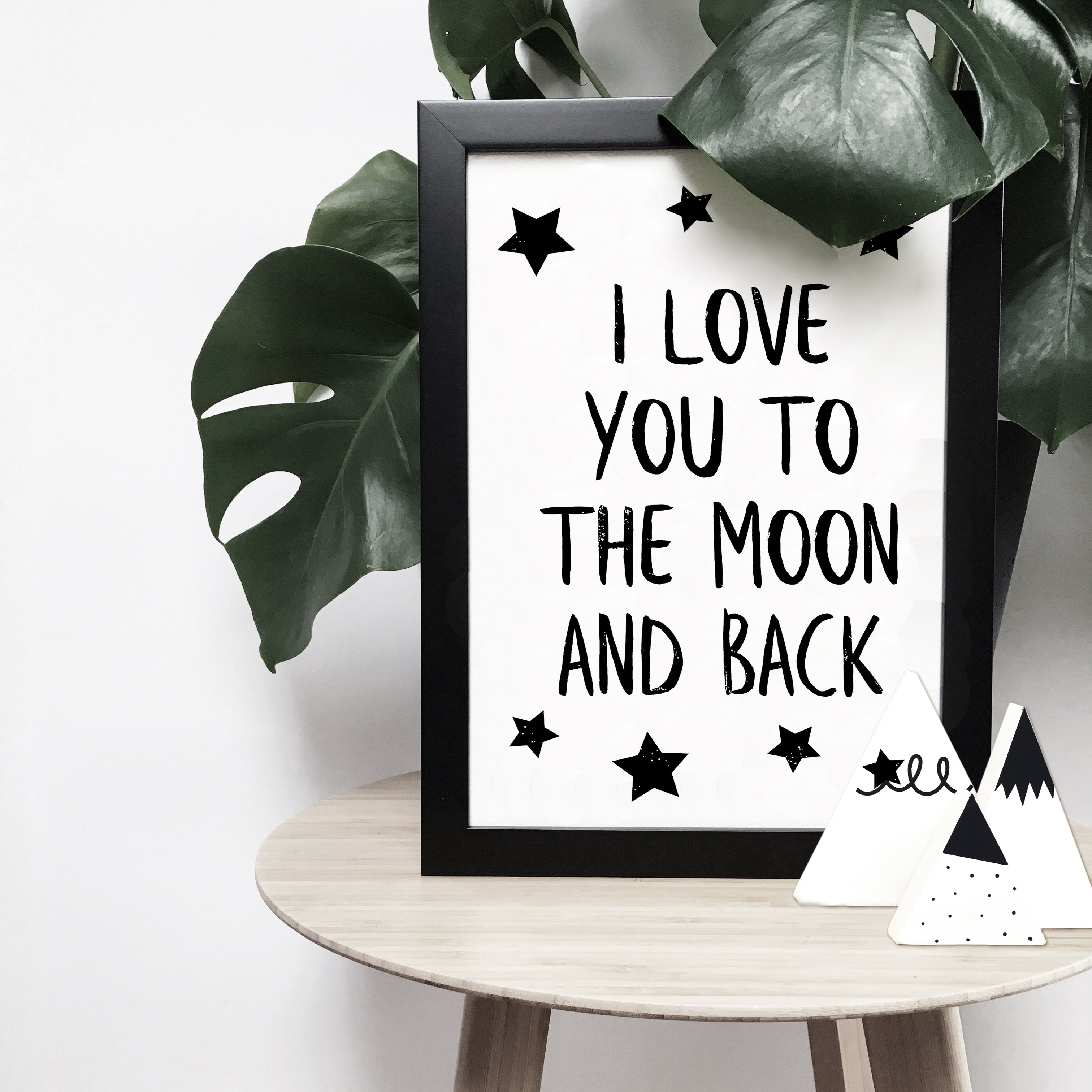 'I love you to the moon and back' with stars monochrome print | ink & white