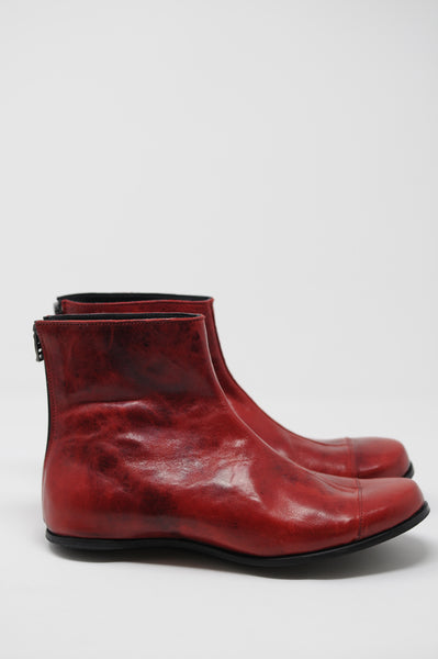 Cydwoq Red Leather Egg Boots - - | ATELIER957 | shop sale items from hand-picked, statement clothing, shoe, and accessory collections up to 70 percent off