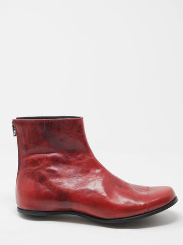 Cydwoq Red Leather Egg Boots - 36 - | ATELIER957 | shop sale items from hand-picked, statement clothing, shoe, and accessory collections up to 70 percent off