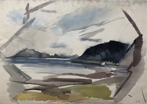 """Rocky Coast and Inlet, Iceland"" by Sperry Andrews, Amer., (1917-2005)"