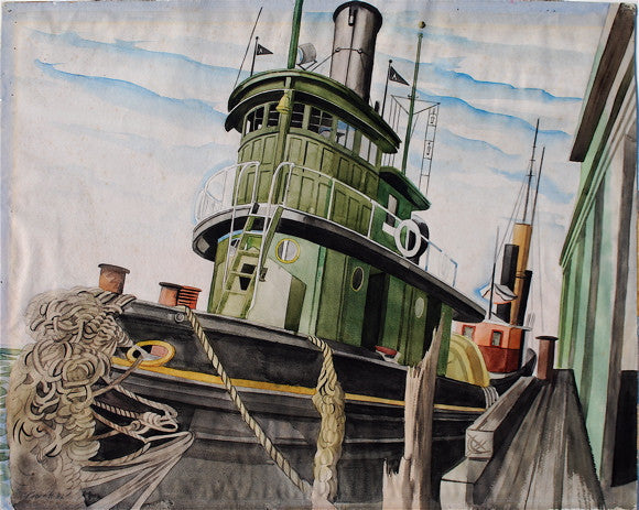 """Tugboat at the Pier (N.Y. Harbor)"" by Leslie Joseph Powell, Amer., (1906-1978)"