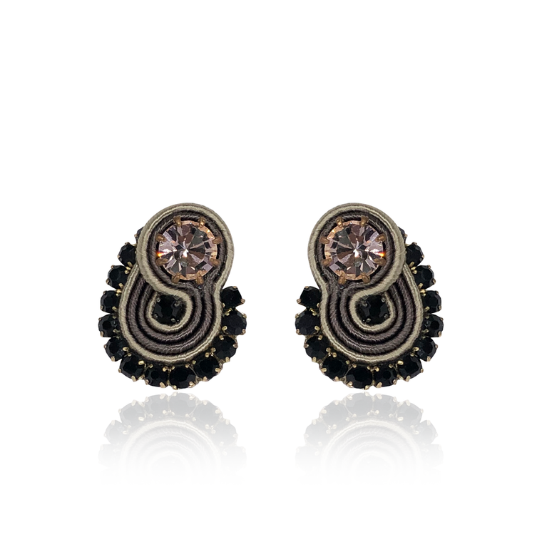 Black and Beige Mini Mamma Earrings