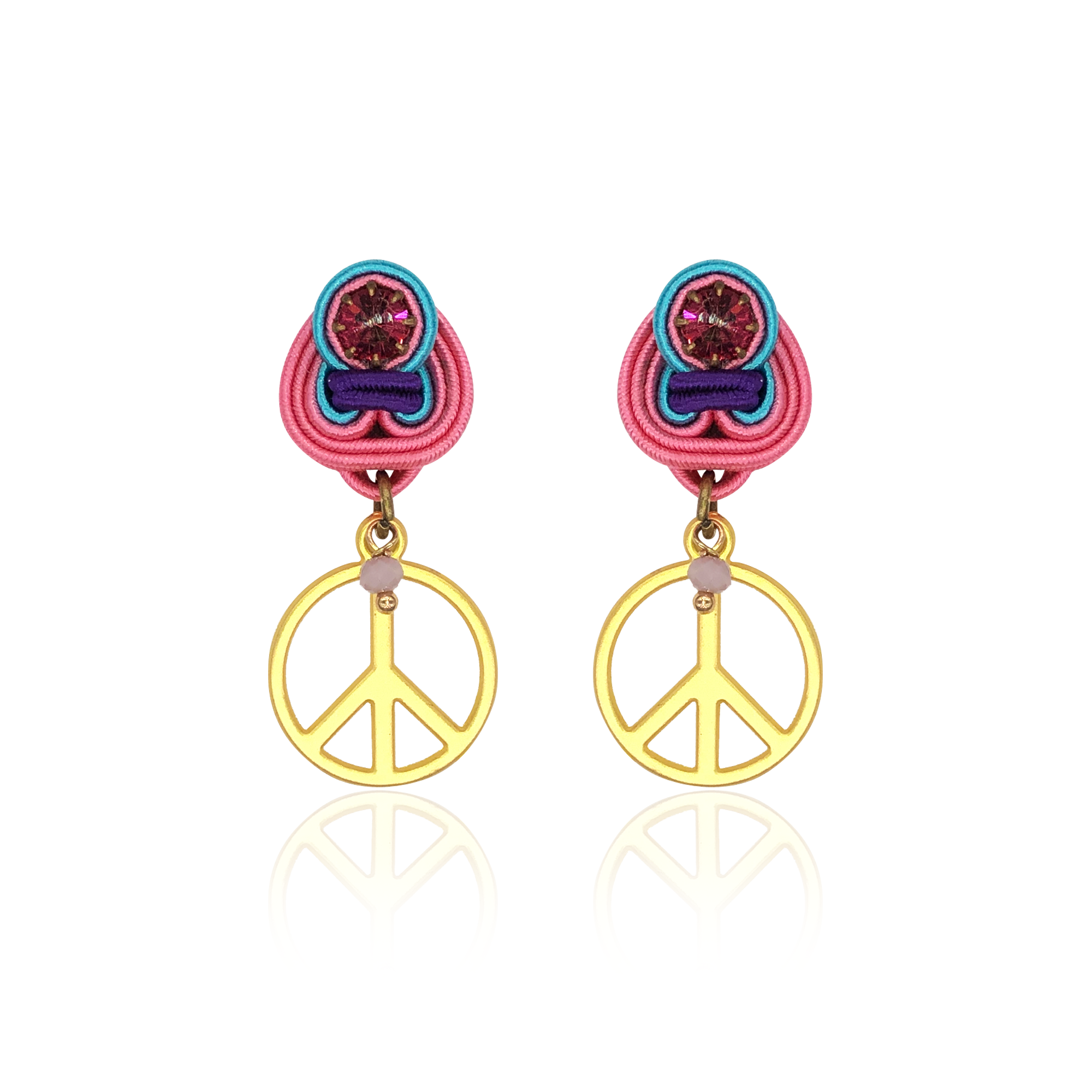 Peace and Love Mini Dije Earrings