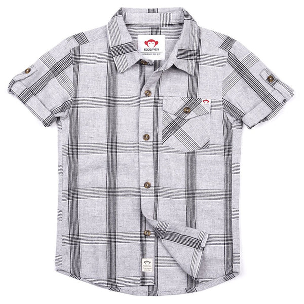 Gray Linen Plaid Collared Shirt