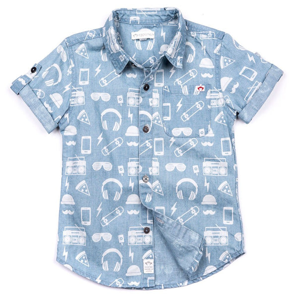 Appaman Boys Button up hipster print shirt