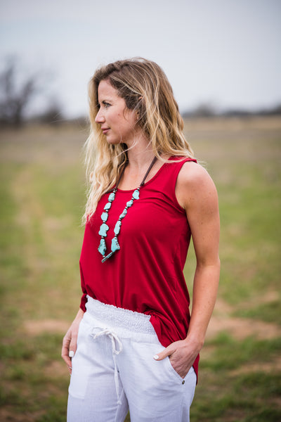 Daily Tank | Dark Red - Rolling Ranch Boutique
