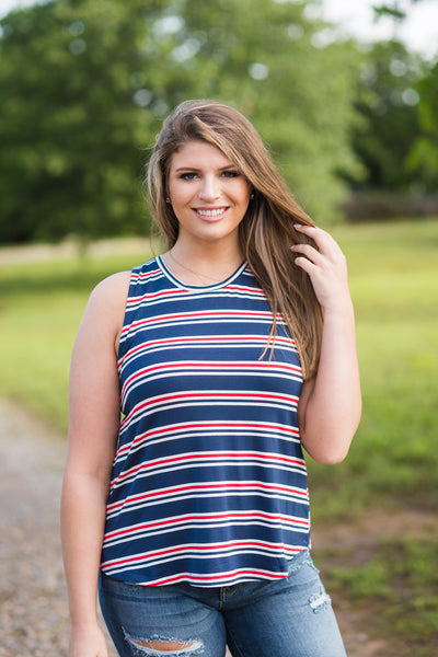 Red, White and Blue Stripes Tank