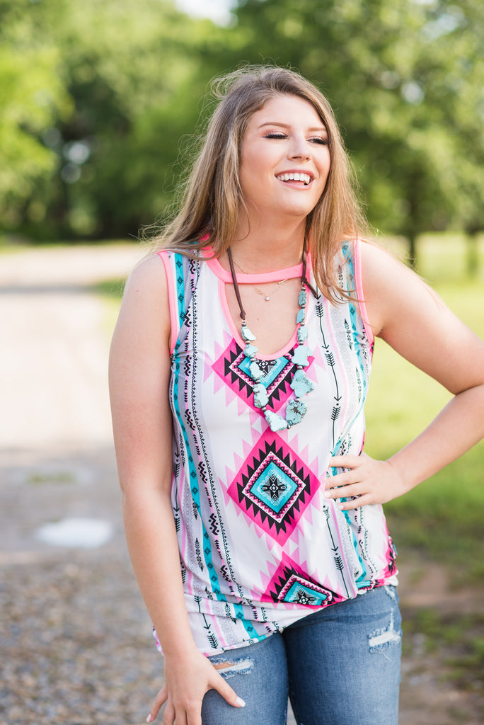 Aztec and Neon Pink Cutout Tank - Rolling Ranch Boutique