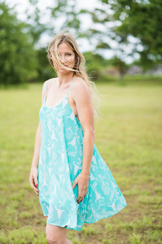 Chiffon Dress | Turquoise Dream Catcher and Skulls - Rolling Ranch Boutique