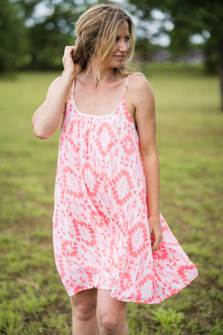 Chiffon Dress | Pink Aztec - Rolling Ranch Boutique