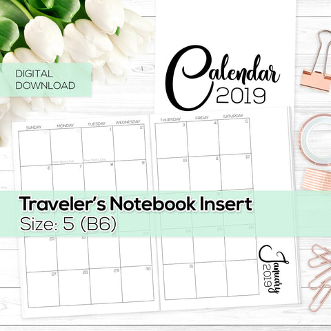 Monthly Calendar 2019 - TN Inserts - B6 / Size No. 5 -  Digital