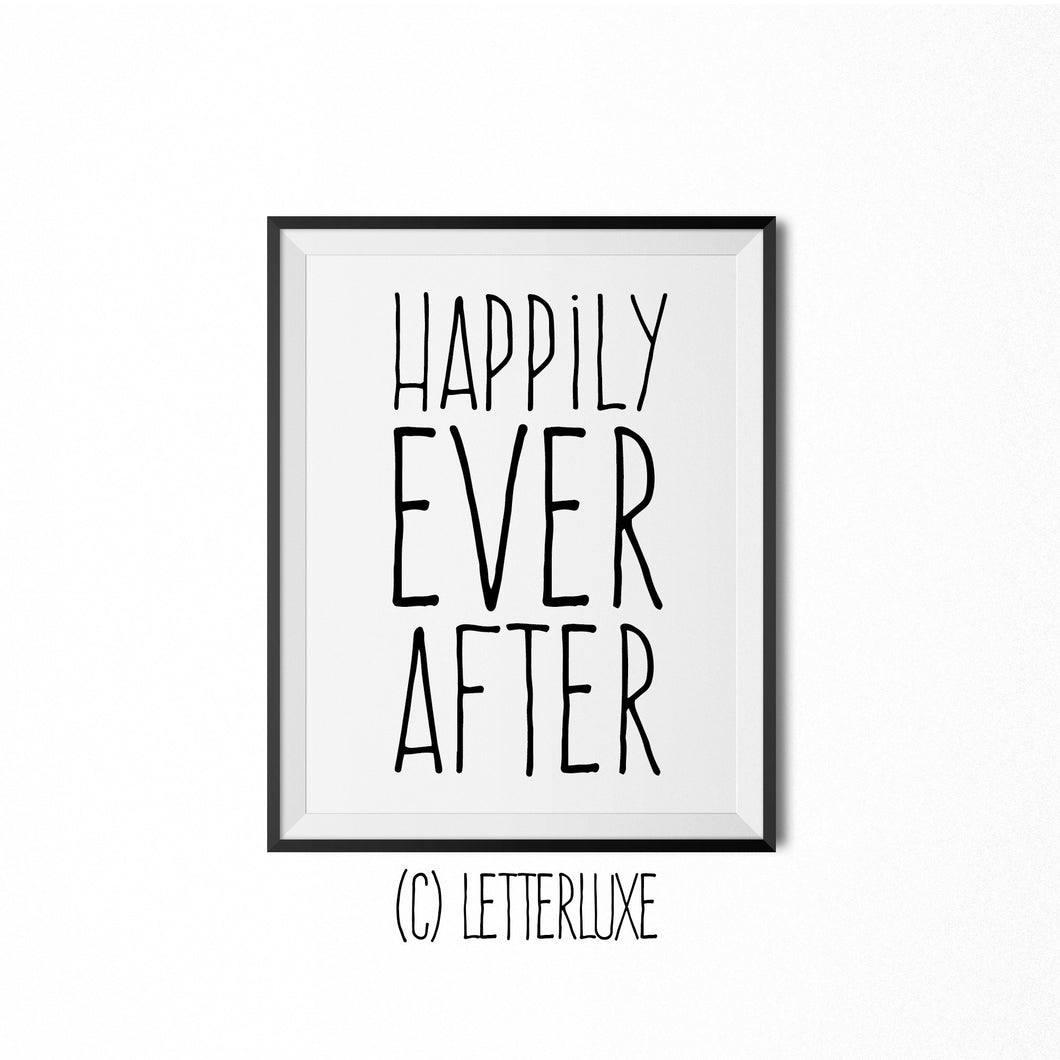 Happily Ever After Poster- Fairytale Bedroom Wall Decoration - LetterLuxe