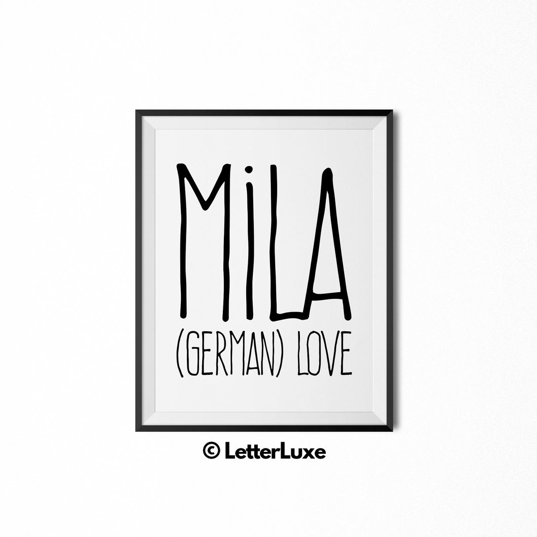 Mila Baby Name Definition - Birthday Gift - LetterLuxe