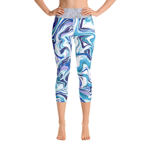 Blue Marbled Capri Leggings