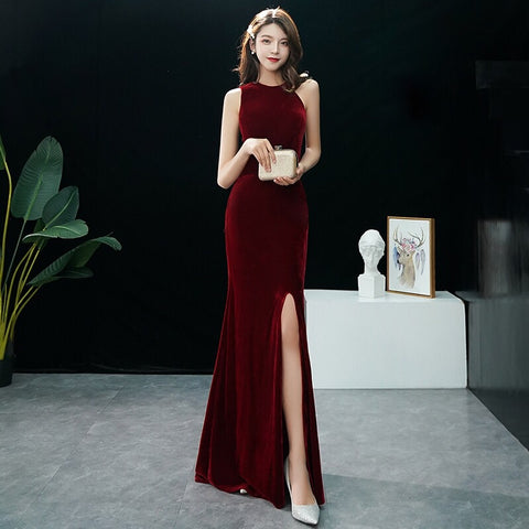 Amilus Velvet Side Cut Out Gown