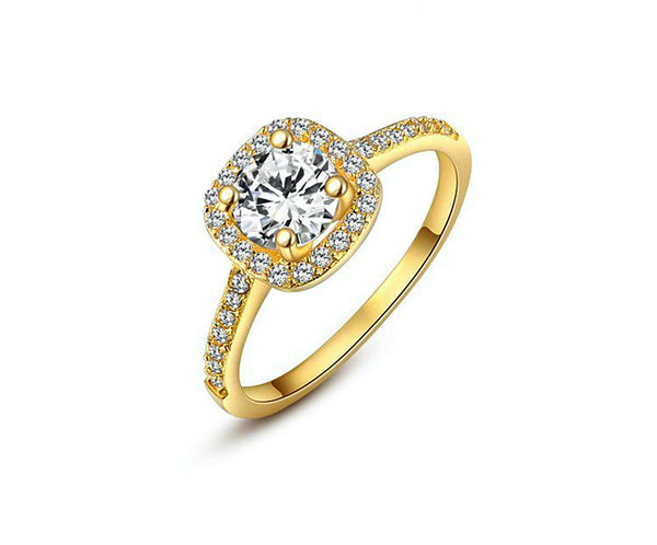 18K Gold Plated Katherine Ring with Simulated Diamond