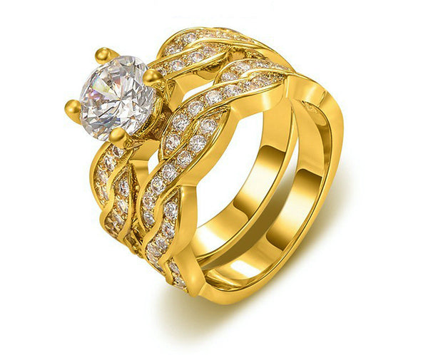 18K Gold Plated Norah Ring with Simulated Diamond
