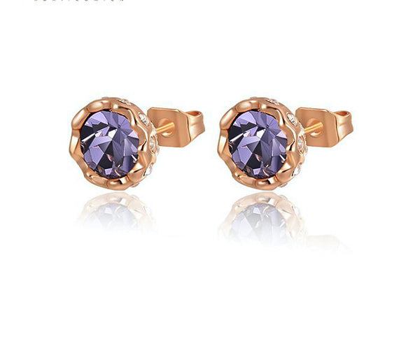 18K Gold Plated Nova Earrings with Simulated Diamond