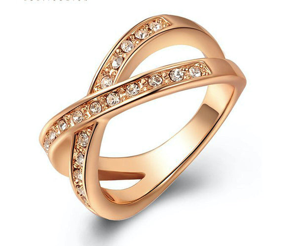 18K Rose Gold Plated Olivia Ring with Simulated Diamond