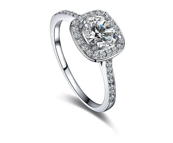 Platinum Plated Ava Ring with Simulated Diamond