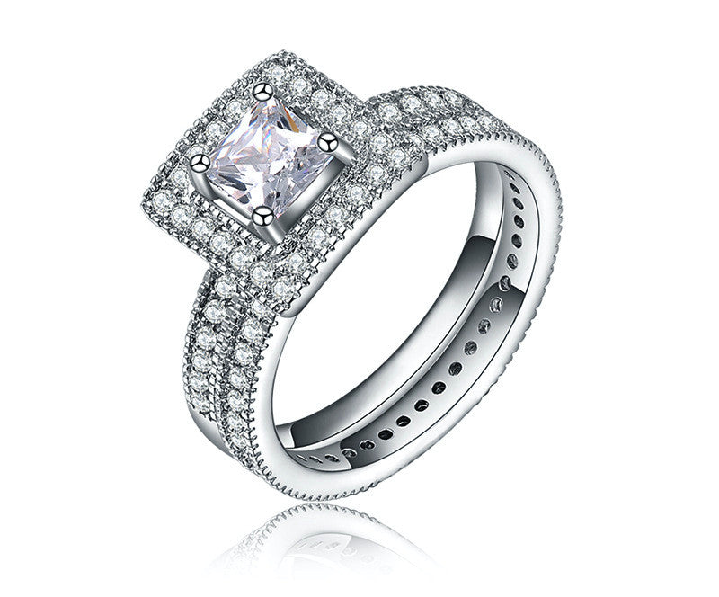 Platinum Plated Carter Ring with Simulated Diamond