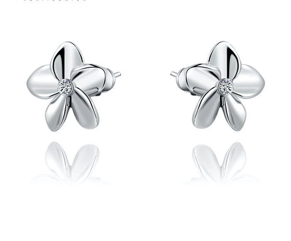 Platinum Plated Grace Earrings with Simulated Diamond