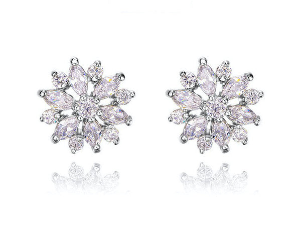 Platinum Plated Lilly Earrings with Simulated Diamond
