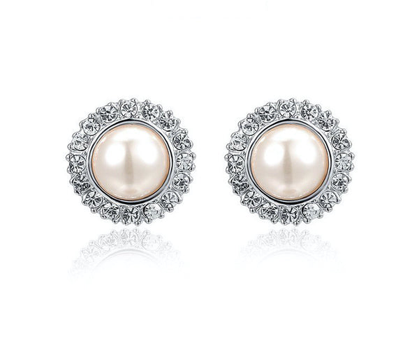 Platinum Plated Makayla Earrings with Simulated Diamond