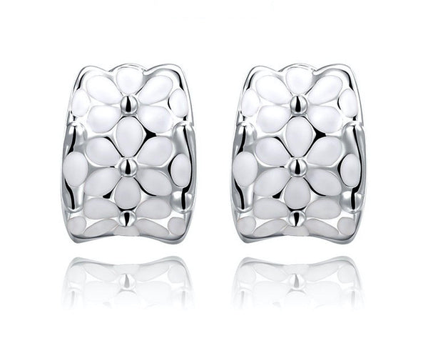 Platinum Plated Victoria Earrings with Simulated Diamond