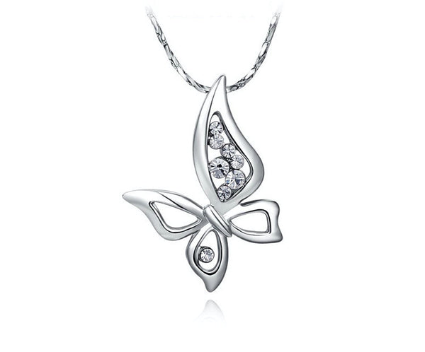 Platinum Plated Zoe Necklace with Simulated Diamond